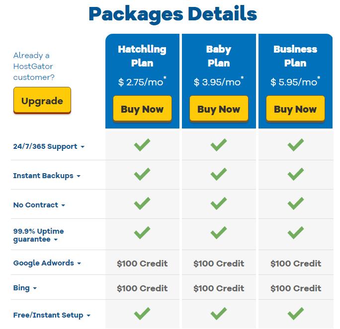 รายละเอียด Packages Details ของ โฮสเกเตอร์