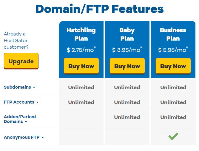 Domain/FTP Features ของโฮสเกเตอร์